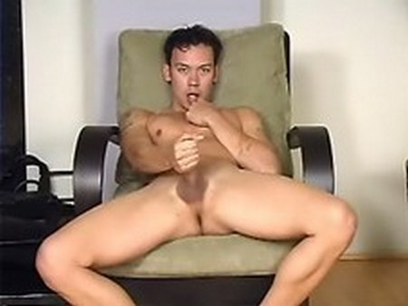 Asian twink works his cock and his ass